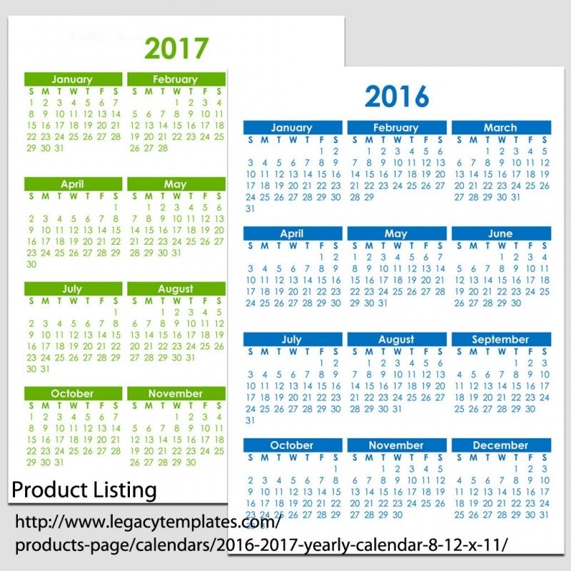 2016 2017 Yearly Calendar 8 12 X 11 Legacy Templates 89uj