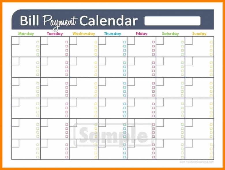 Monthly Calendar Budget Template : Printable bill calendar template free