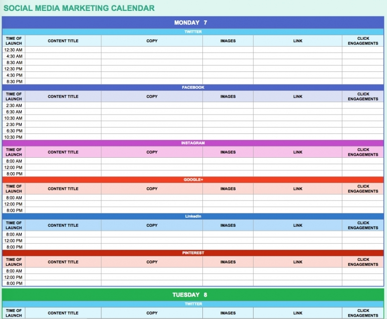 9 Free Marketing Calendar Templates For Excel Smartsheet3abry
