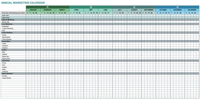 9 Free Marketing Calendar Templates For Excel Smartsheet3abry