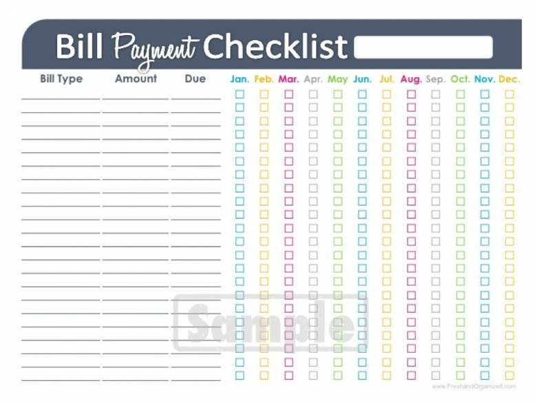Bill Payment Checklist Printable Editable Personal Finance  xjb