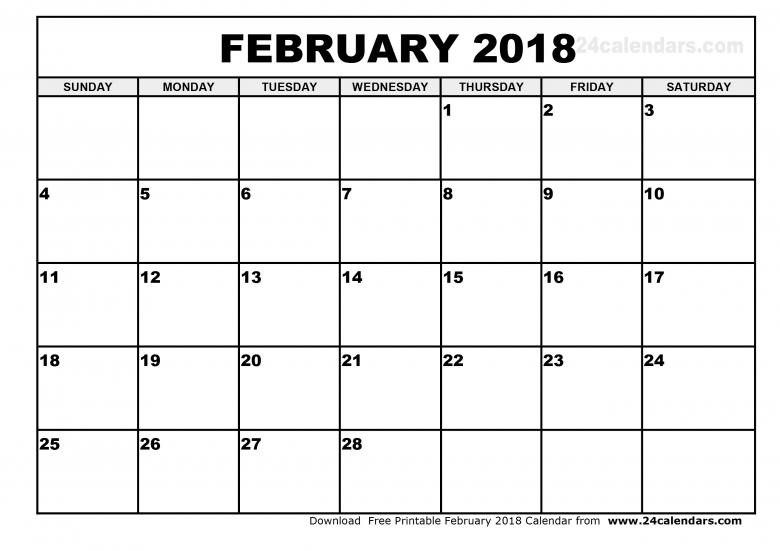 February 2018 Calendar Printable3abry