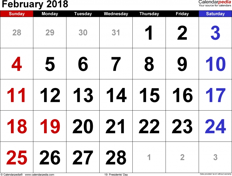 February 2018 Calendars For Word Excel Pdf3abry