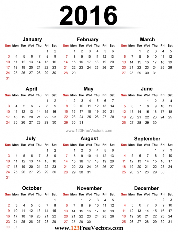 Printable 2016 Calendar Template 123freevectors 89uj