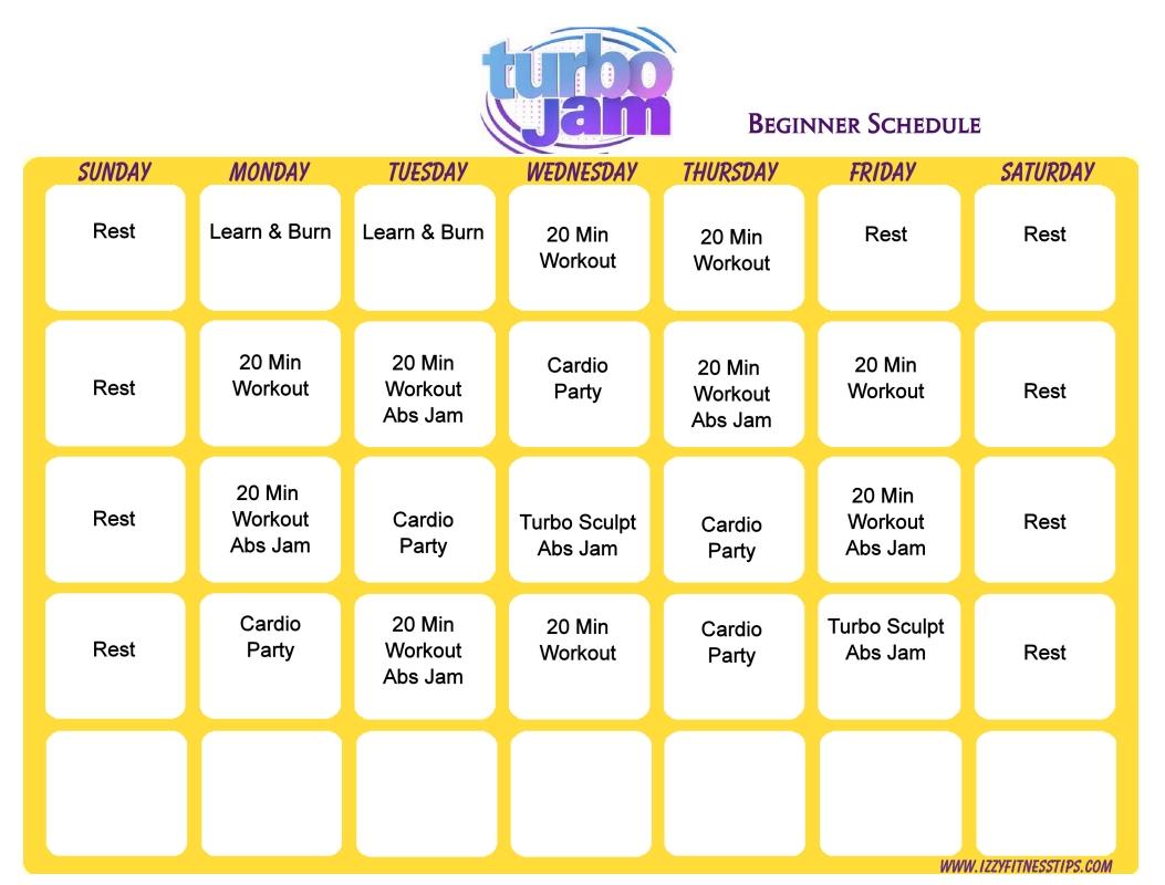 Turbo Jam Beginner Schedule Workout Calendars Pinterest  xjb
