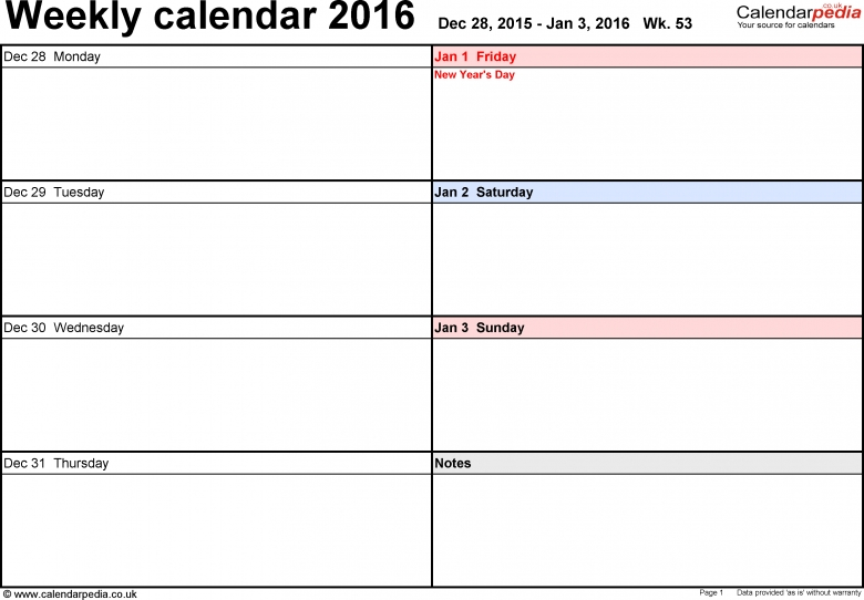 Weekly Calendar 2016 Uk Free Printable Templates For Word  xjb