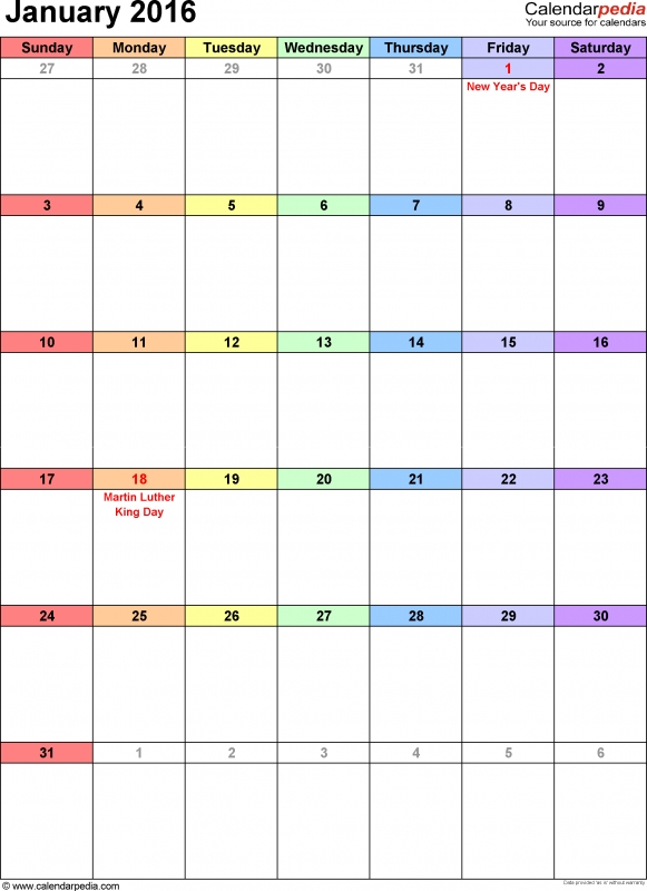 January 2016 Calendars For Word Excel Pdf  xjb