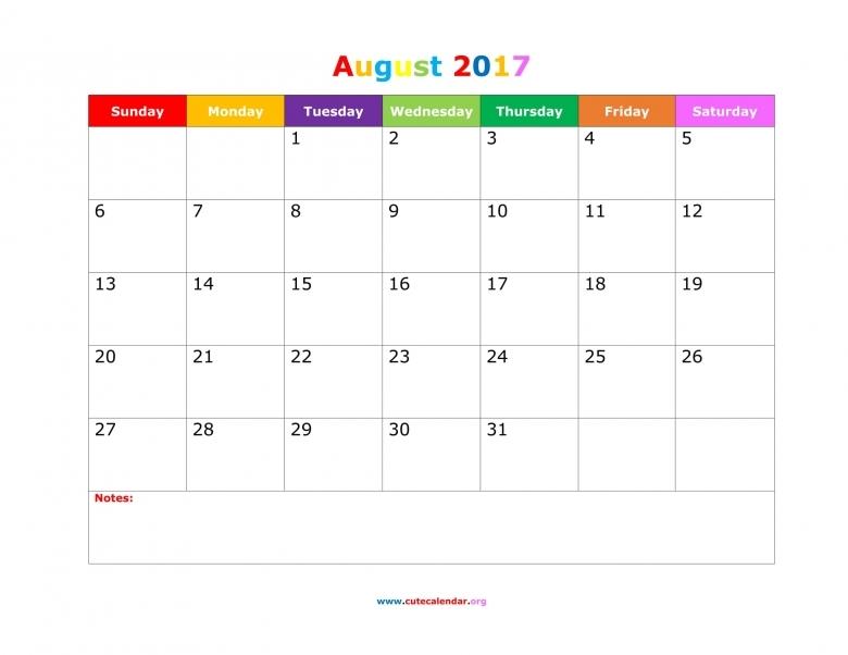 2017 August Calendar Pretty Printable Editable Blank Calendar 20173abry