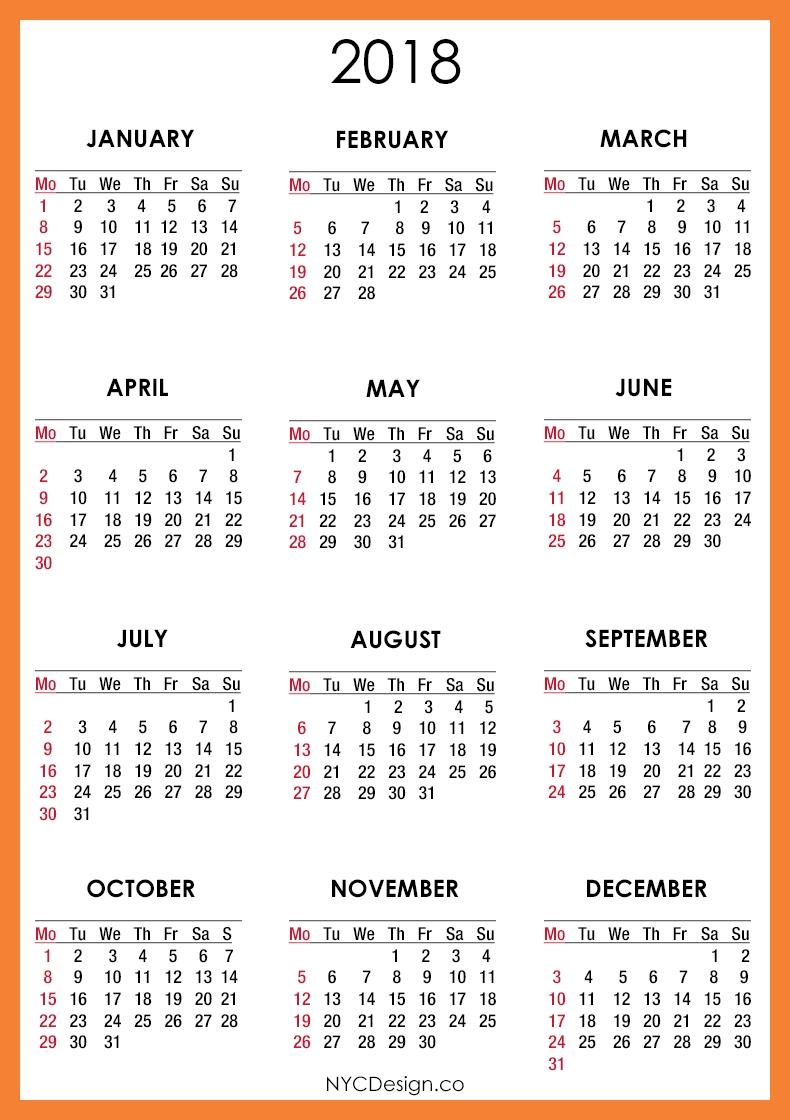 2018 Calendar Printable Calendar 2017 Printable 89uj