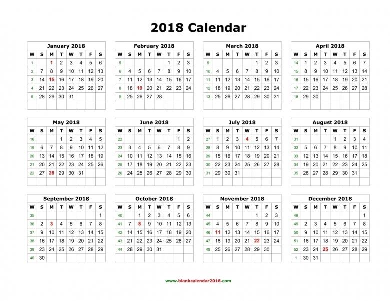 Blank Calendar 2018 89uj