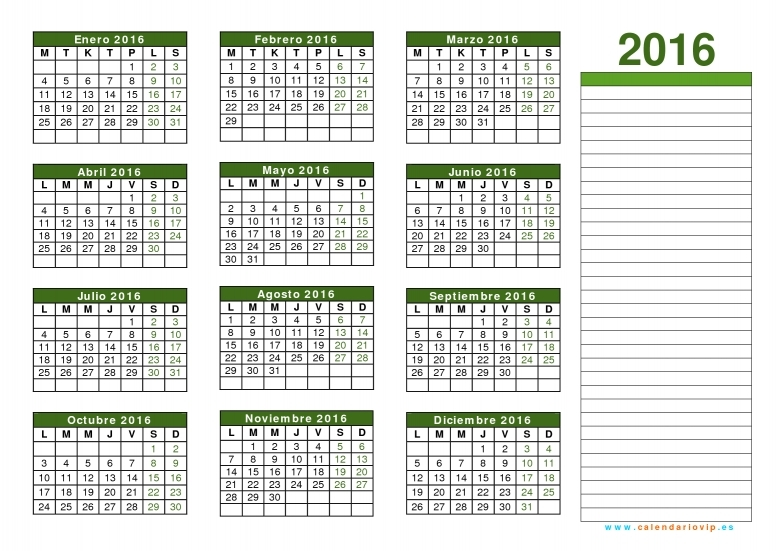 Calendario 2016 Para Imprimir Gratis  xjb