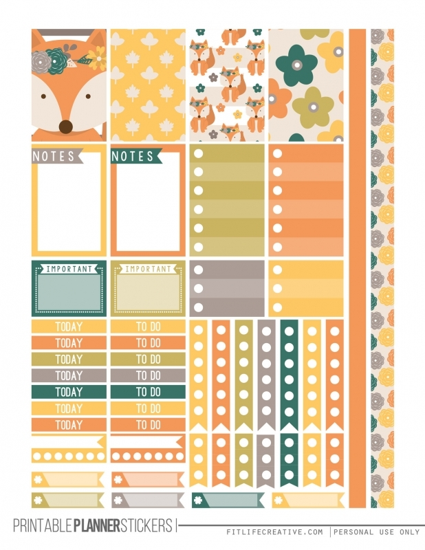 Fall Fox Free Printable Planner Stickers For The Classic Size  xjb