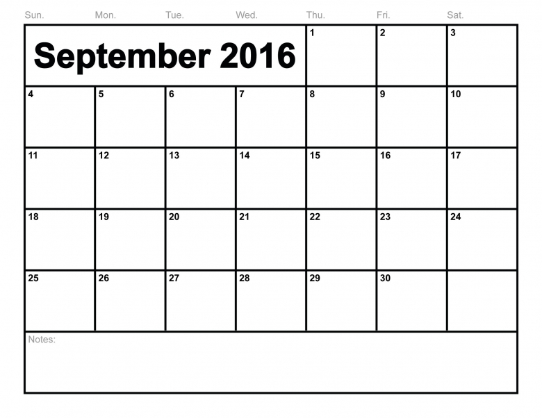 Free Printable September 2016 Calendar September Month  xjb