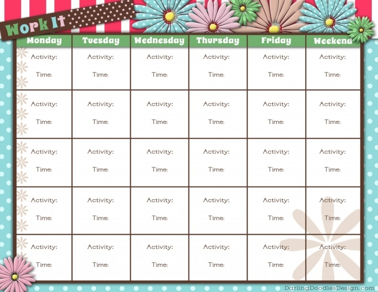 Free Printable Workout Calendar 2017 Calendar Printable3abry