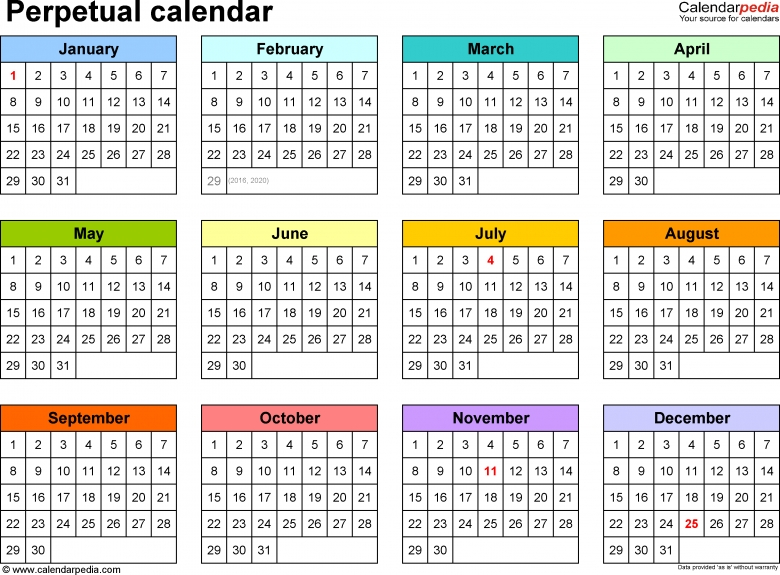 Perpetual Calendars 7 Free Printable Excel Templates  xjb