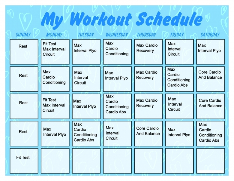 Printable Workout Calendar Activity Shelter3abry