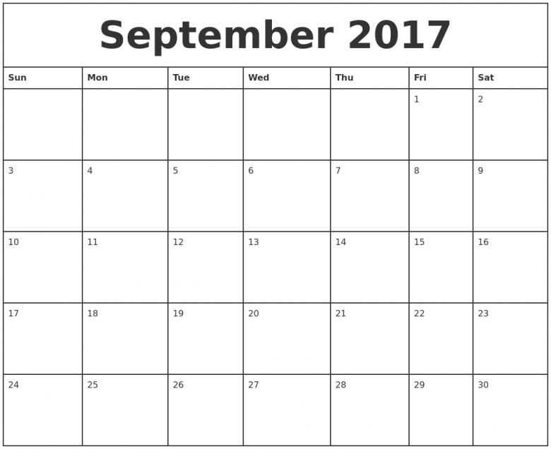 September Calendars  xjb