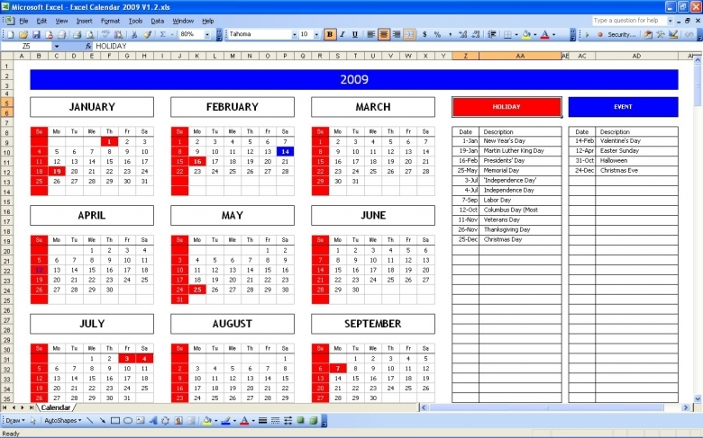 Top 5 Excel Yearly Calendar Excel Spreadsheet  xjb