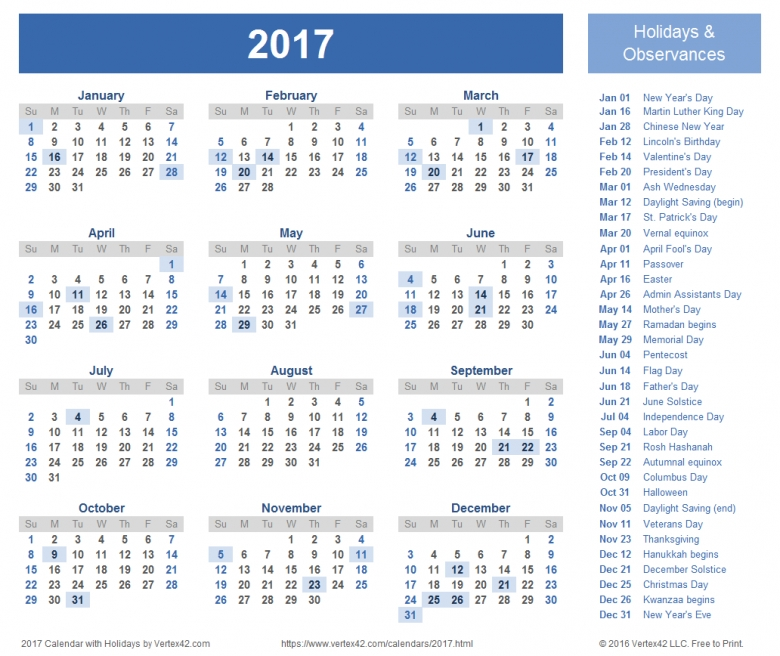 2017 Calendar Templates And Images3abry