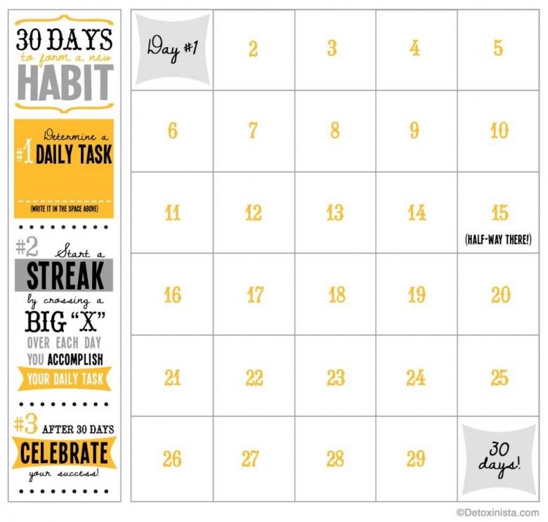30 Day Printable Calendar Detoxinista3abry