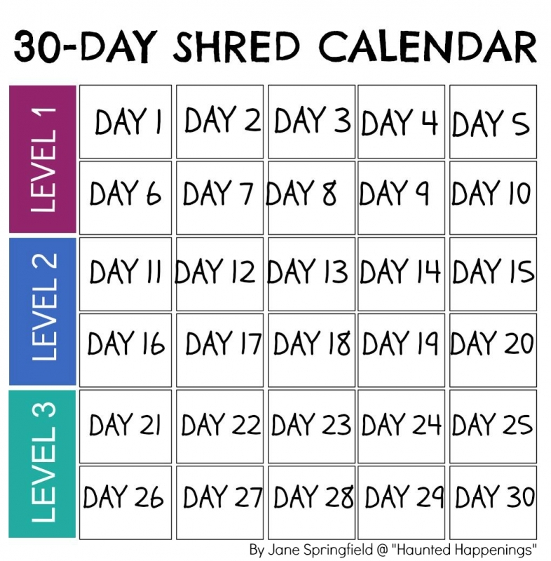 Calendar Template For Jillian Michaels 30 Day Shred To Keep3abry