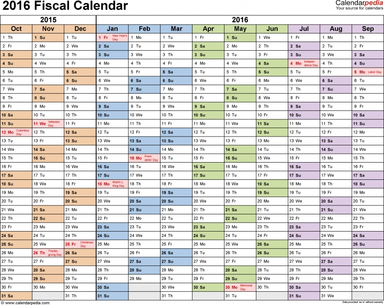 Fiscal Calendars 2016 As Free Printable Word Templates  xjb