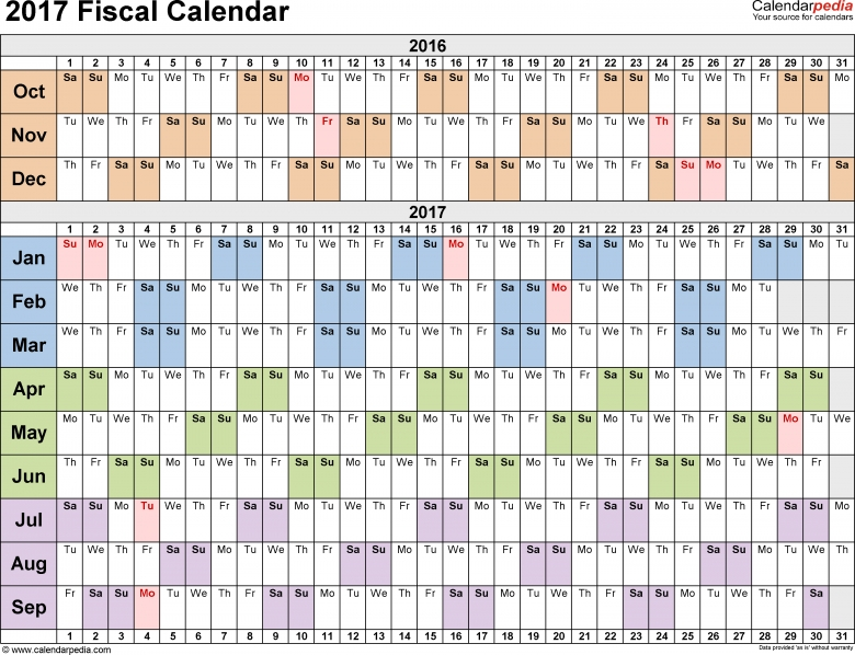 Fiscal Calendars 2017 As Free Printable Pdf Templates3abry