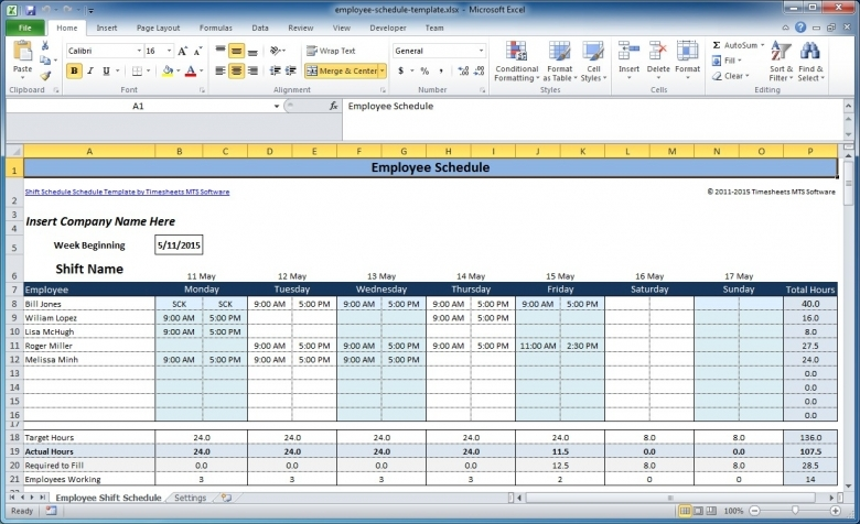 Free Employee And Shift Schedule Templates  xjb