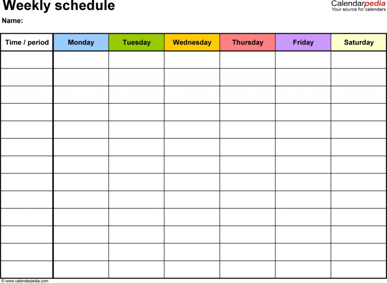 Free Weekly Schedule Templates For Excel 18 Templates 89uj