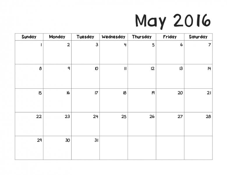 May 2016 Calendar  xjb
