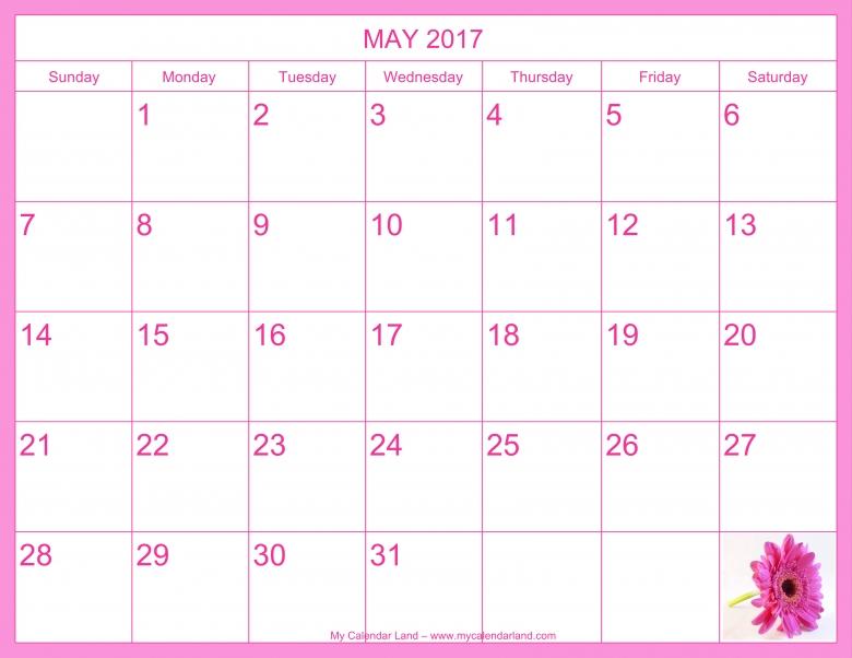 May 2017 Calendar My Calendar Land  xjb