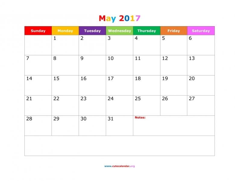 May Calendar 2017 Cute  xjb