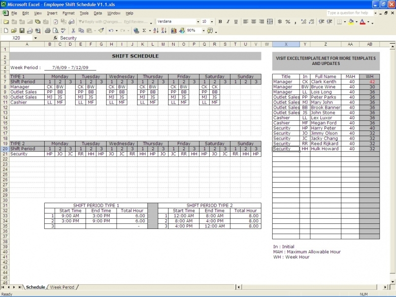 Shift Schedules Excel Templates  xjb