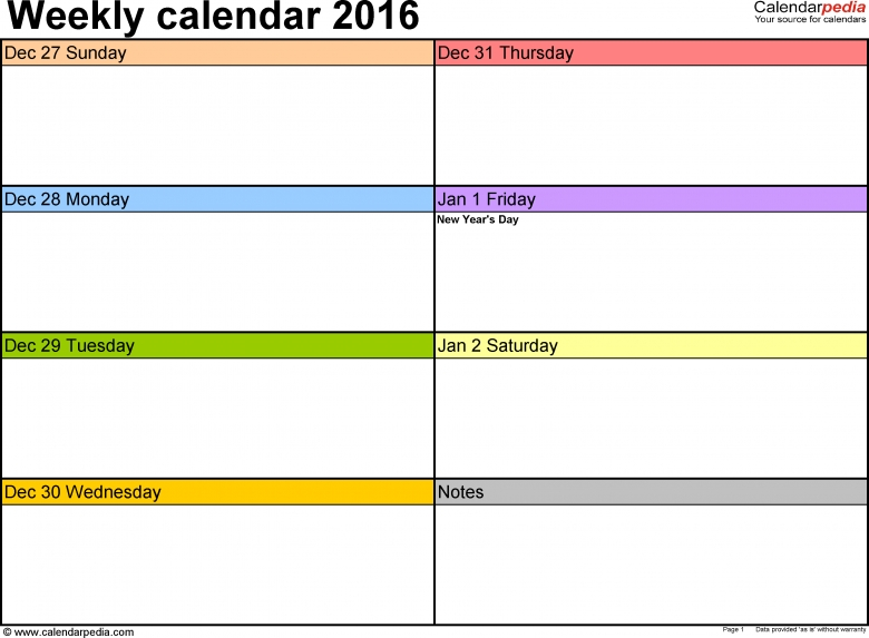 Weekly Calendar 2016 For Pdf 12 Free Printable Templates3abry