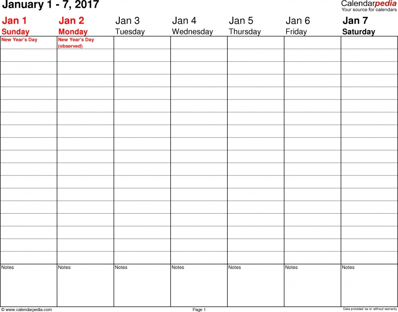 Weekly Calendar 2017 For Word 12 Free Printable Templates3abry