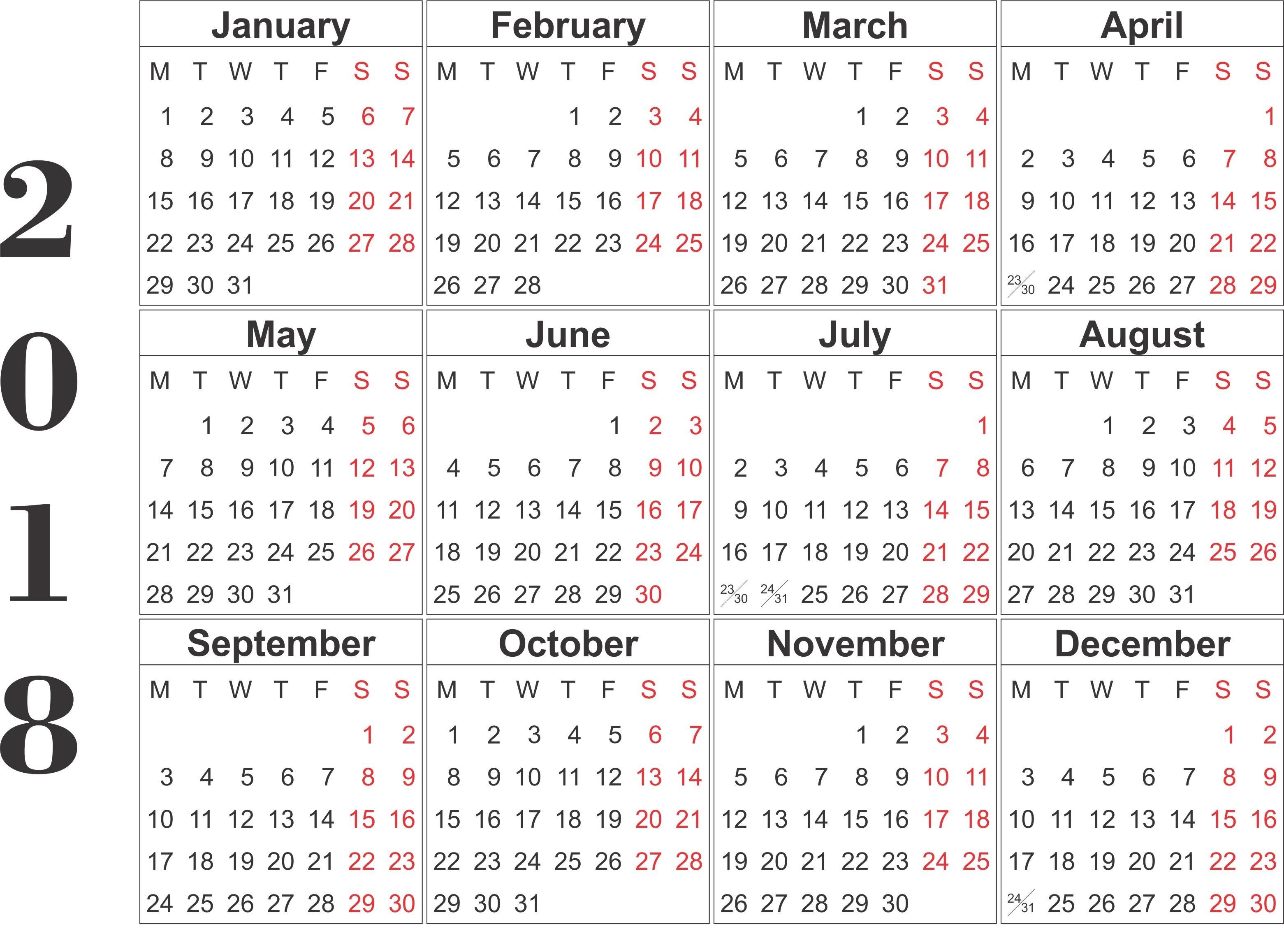 12 Month Calendar Printable 2018 Hatchurbanskriptco3abry