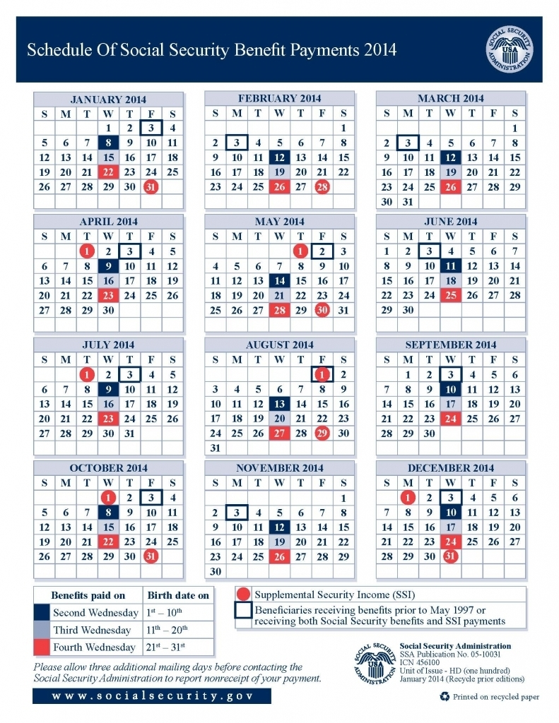 2013 Social Security Disability Ssi Benefits Pay Calendar  Xjb