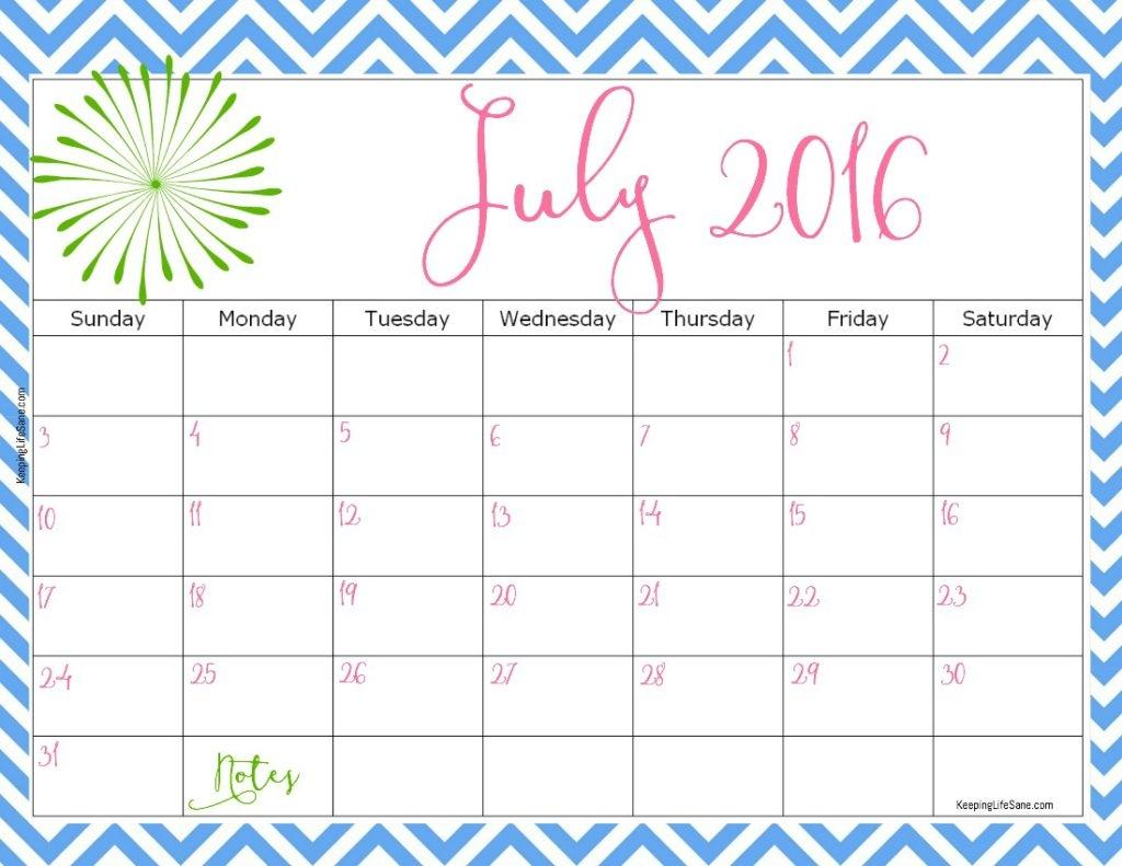2016 Free Printable Calendar Keeping Life Sane  Xjb