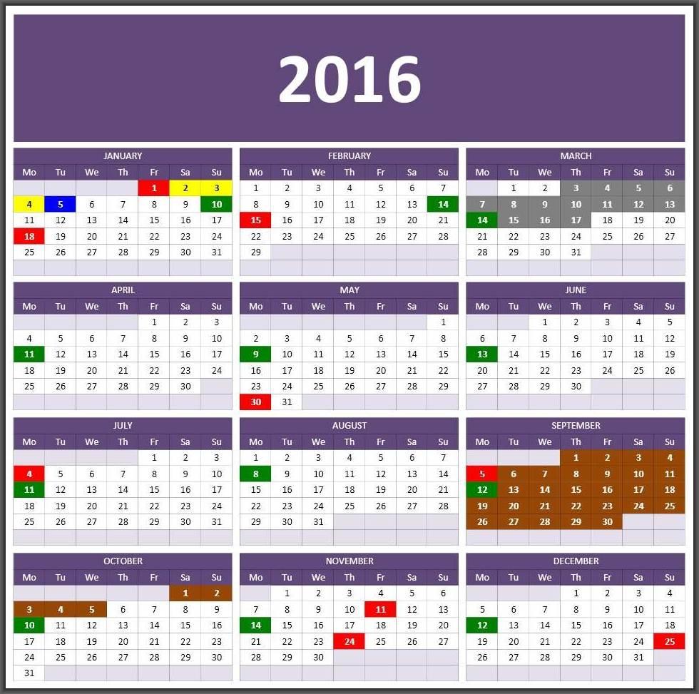 2017 Calendars Excel Calendars