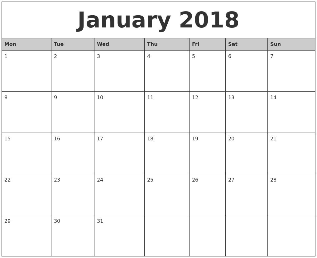 2018 Calendar Monday Through Sunday Printable Calendar 20183abry