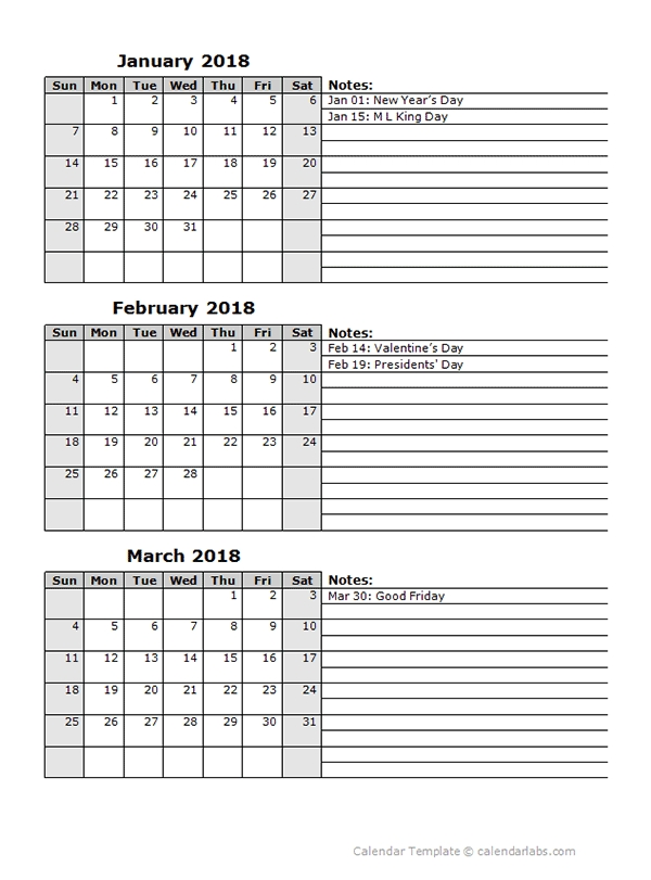 2018 Three Month Calendar Template Free Printable Templates