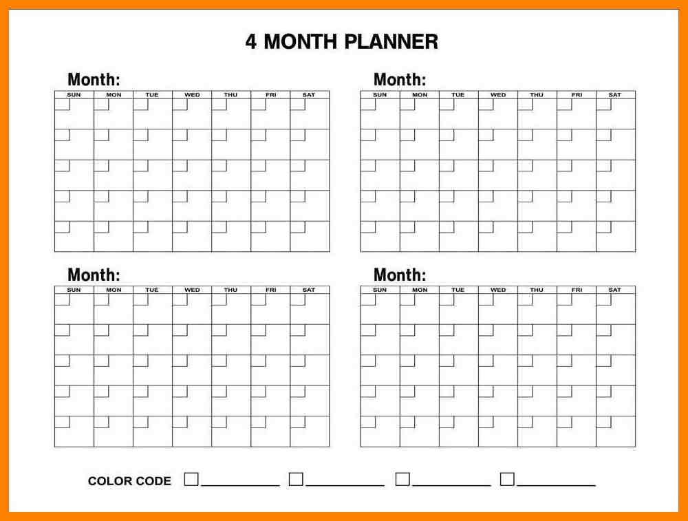 4 Month Calendar Targergolden Dragonco
