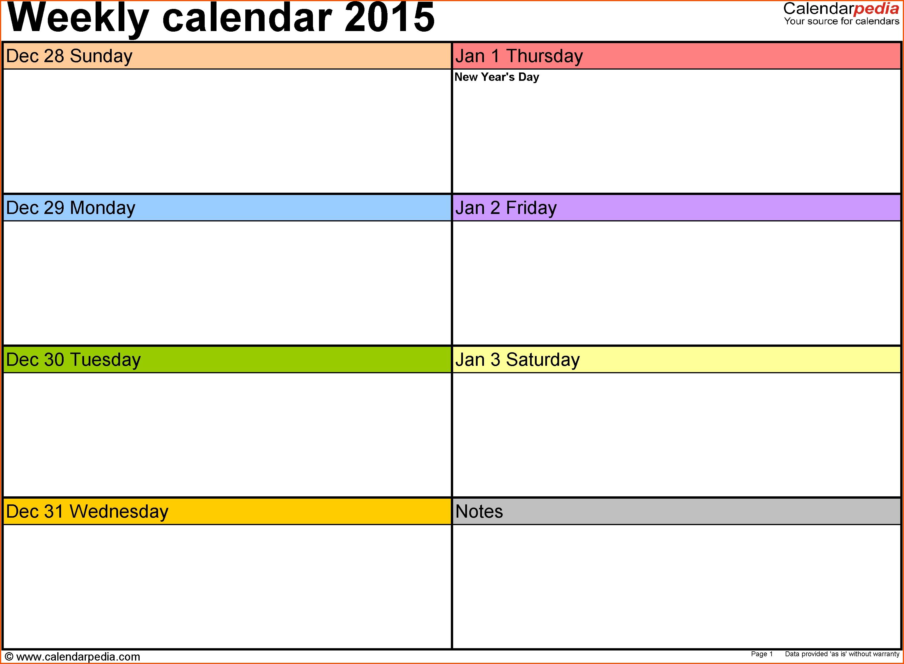 9 Calendar Weekly Template Survey Template Words3abry