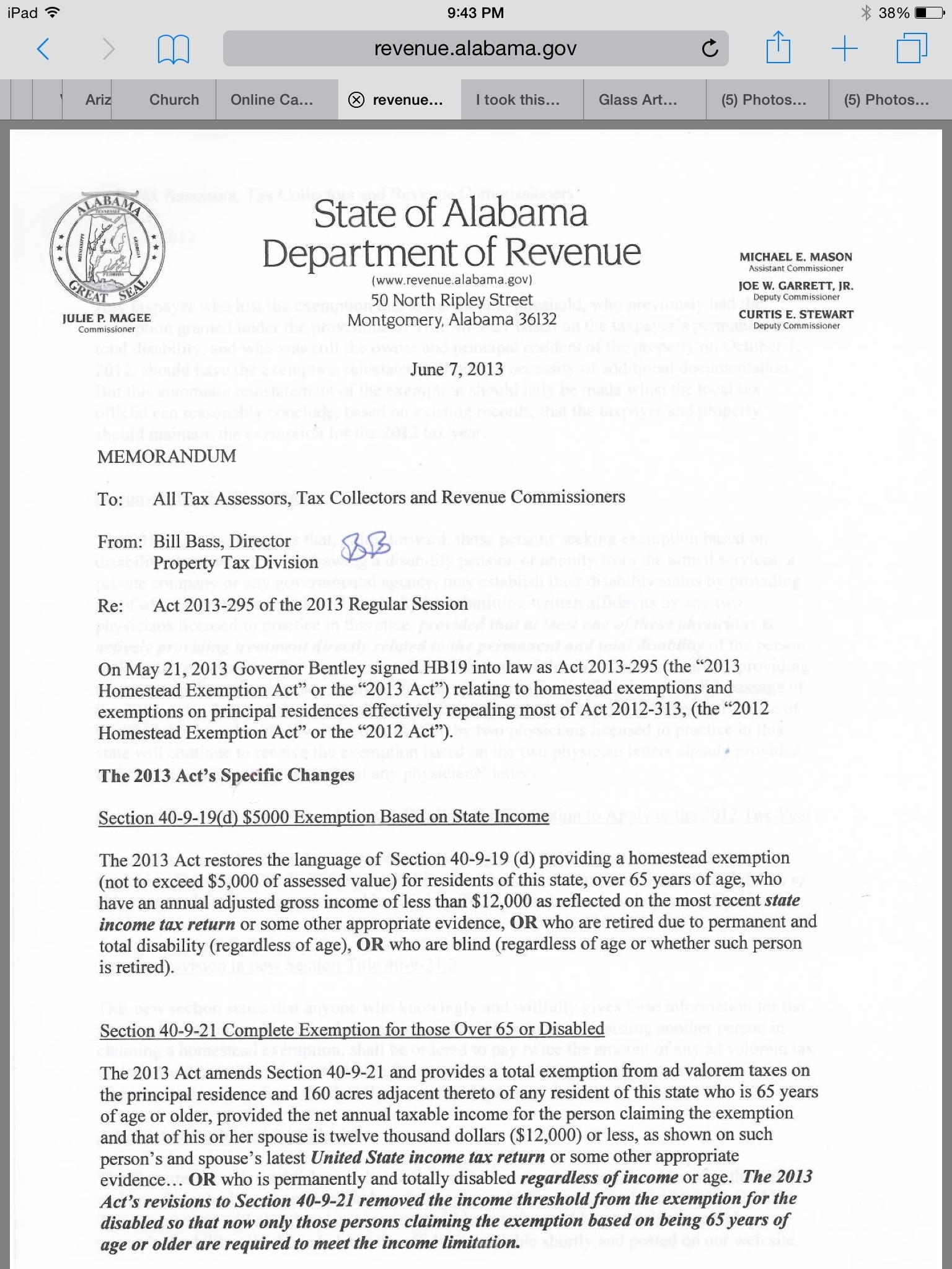 Alabama Property Tax Exemption H