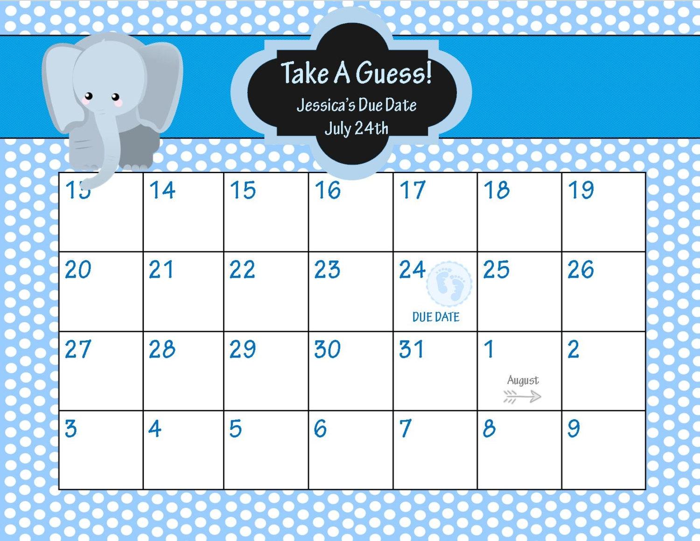 Animal Ba Shower Due Date Calendar Elepahnt Ba Shower3abry