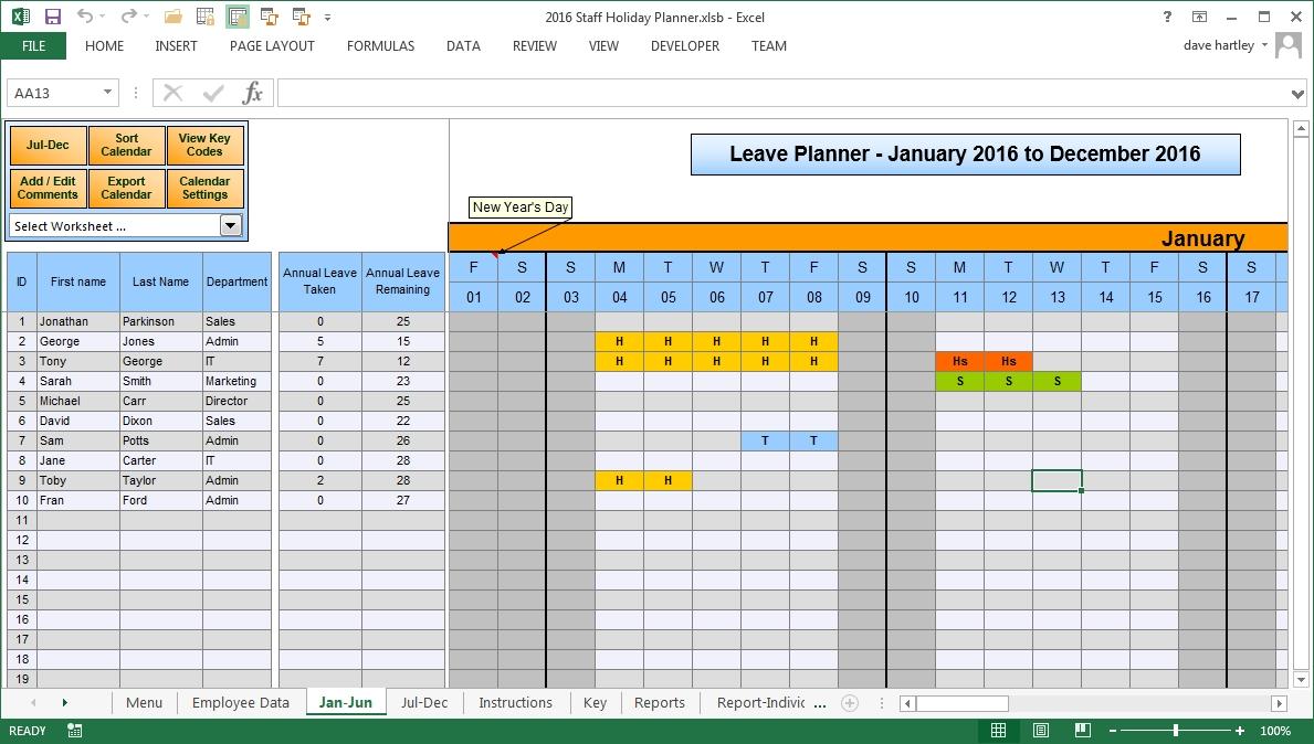 Annual Leave Calendar Excel Insssrenterprisesco3abry