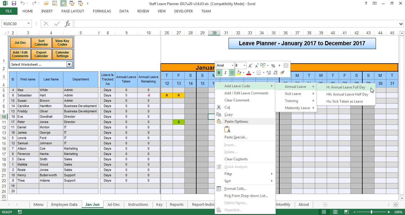 Anual Leave Planner Template Manage Staff Leave With This Excel  Xjb