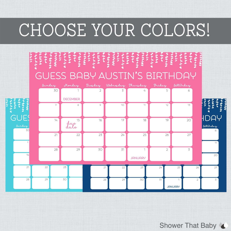 Ba Birthday Predictions Printable Ba Shower Due Date3abry