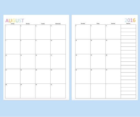 2 Page Monthly Calendar Template Free Calendar Template