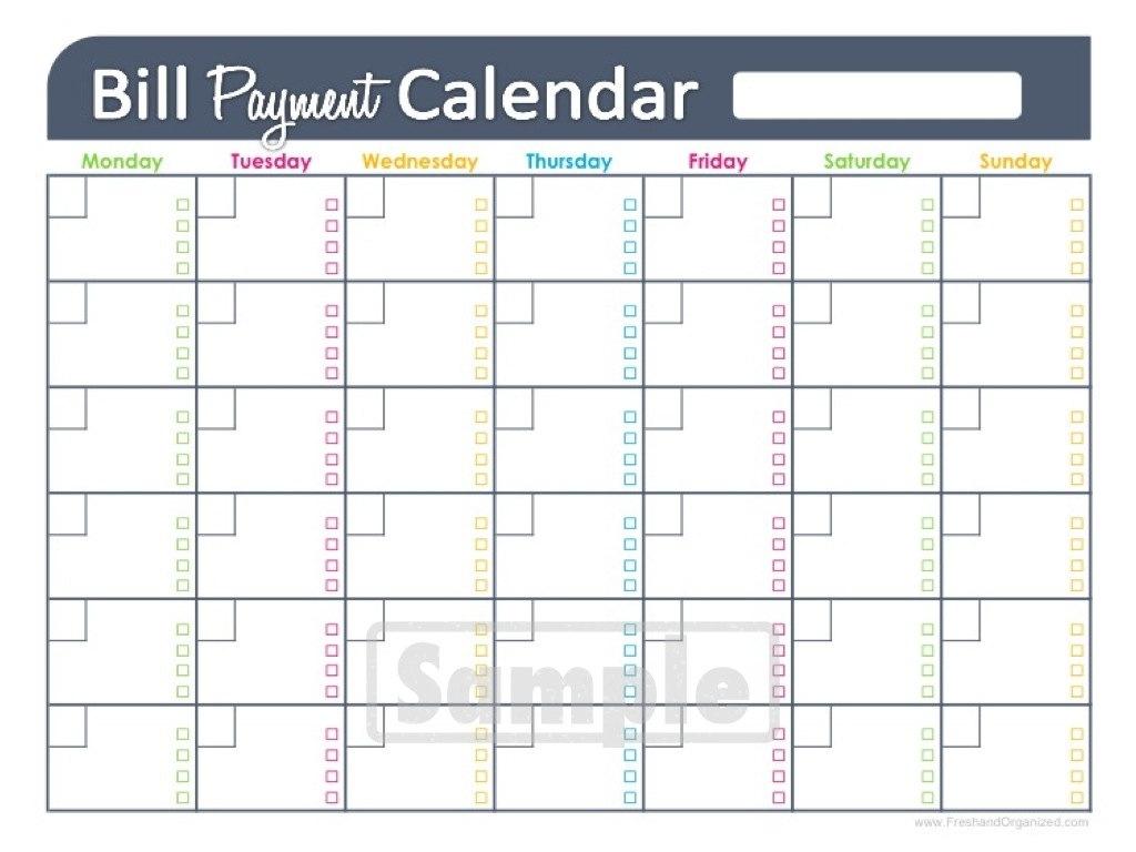 Bill Pay Calendar Template Free Printable Online Calendar3abry